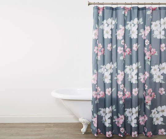 Aprima Dogwood Floral Pink Gray Fabric Shower Curtain Fabric