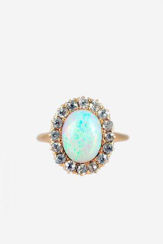 opal + diamond vintage ring. love