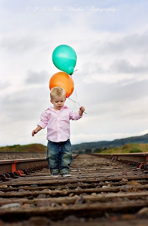Photo of Axyl Holding balloons, then photo of him letting go of balloons,  and lastly one of him watching them in the sky