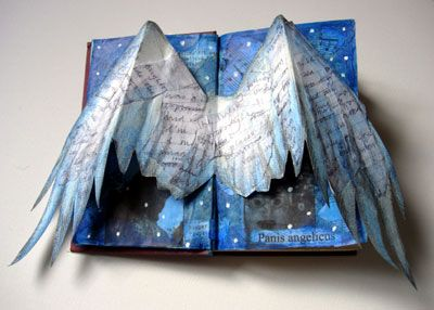 Angel wings altered book