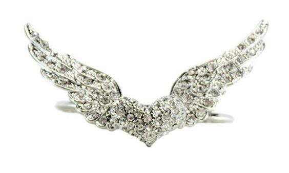 Anel duplo coração alado - Anéis