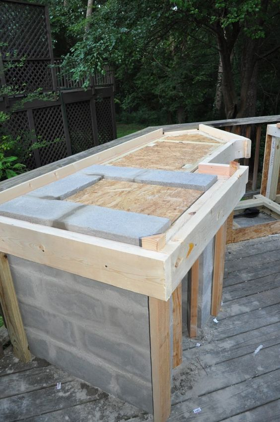 Wonderful Outdoor Kitchen Cinder Block Frame With Granite