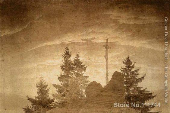 Arte famosa Cruz nas Montanhas 06 Caspar David Friedrich pinturas pintados à Mão de Alta qualidade(China (Mainland))