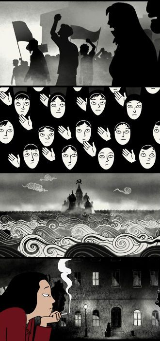 """""""Persepolis"""" 2007. A great, and totally original, foreign animated memoir about a girl's growing up during the Islamic Revolution. Surprisingly funny considering its subject matter. True art."""