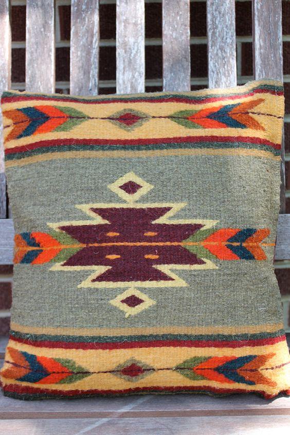Vintage NATIVE AMERICAN Wool NAVAJO Print by moonchildvintage