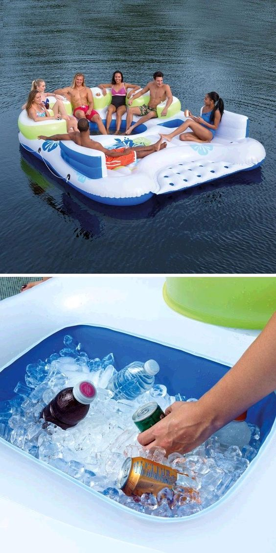 Relax this summer with the Tiki Breeze Floating Island by Bestway.  With inflated dimensions of 13.58' x 10.8' you and all of your friends will have plenty of room to enjoy the lake, all day long!