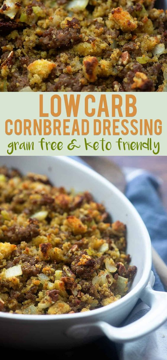 """Low Carb """"Cornbread"""" Dressing! Keto friendly and perfect for Thanksgiving! #lowcarb #keto #cornbread #stuffing #thanksgiving"""