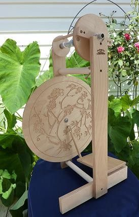 Modern Spinning Wheel with Cherry Blossom design  by ford4him, $328.00