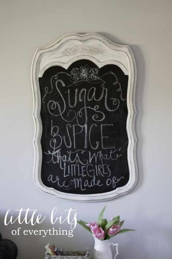 Sugar & Spice chalkboard sign - this works so perfect for a baby shower for a little girl! #babyshower #itsagirl