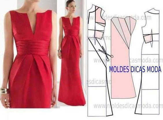 Dresses: Vestido Molde Festa, Moda Moldes, Molde De, Modelagem Vestido, Molde Vestido Simples, 3D Moldes
