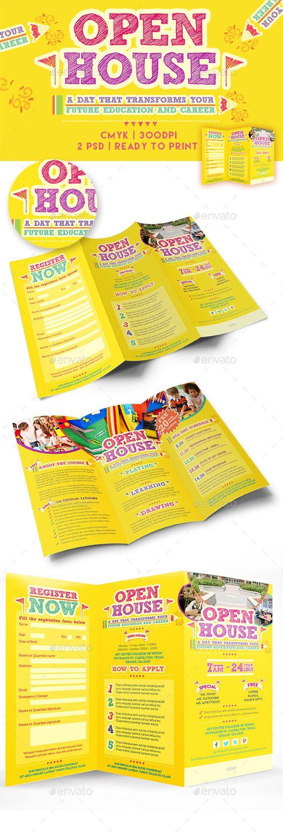 Open house trifold brochure template teaching yellow for Teacher brochure template