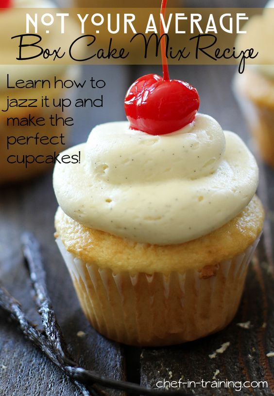 Not Your Average Box Cake Mix Recipe! Click to find out how to take a box cake mix and make it extraordinary! These cupcakes are so moist an...