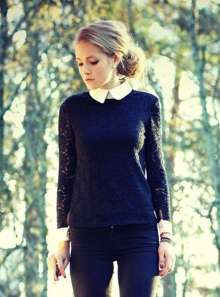 womens collared shirt with sweater over , Google Search