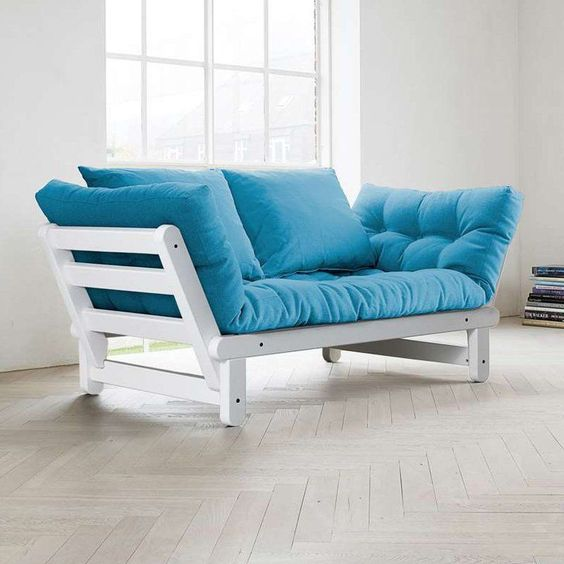 Fresh Futon Beat White Convertible Sofa Blue Beatwh006