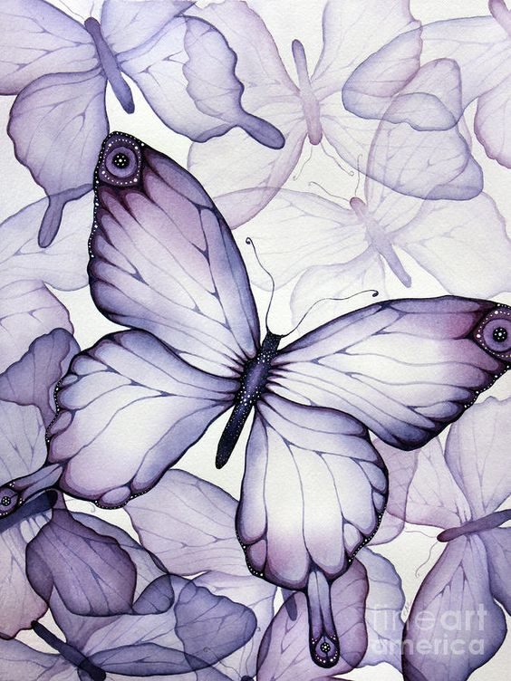 """Purple Butterflies"" watercolour painting ~ by Christina Meeusen:"