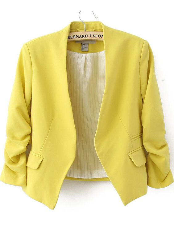 Yellow Collarless Ruched Sleeve Crop Back Blazer