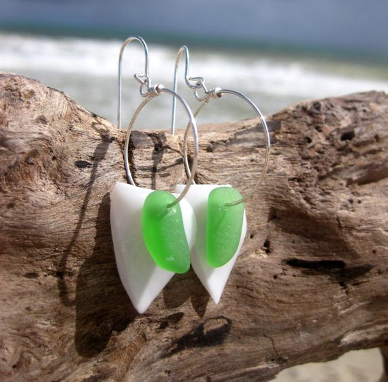 Hawaiian Emerald Green Beach Glass with Geometric White Gooseneck Barnacle Shells on Silver Plated Circular Wire Small Hoop Earrings by LindseysBeachGlass, $31.00