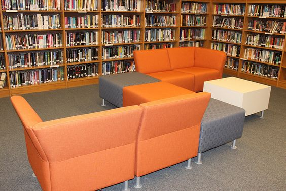 New library furniture: Orange and gray modular couch from the HON Company (Flock series)