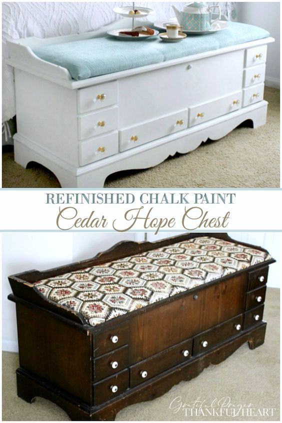 Refinished Cedar Chest Grateful Prayer Thankful Heart Diy Furniture Cheap Diy Furniture Easy Diy Furniture Renovation