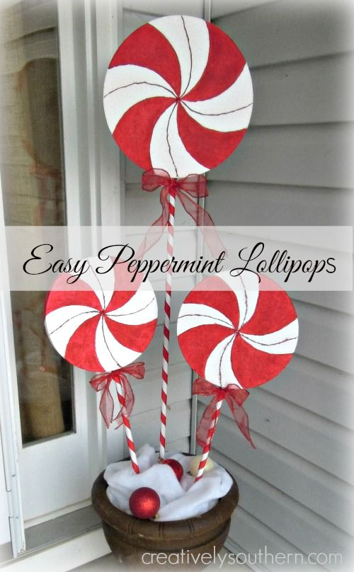 Candy Cane Outdoor Decorations Jumbo Wrapped Candies And Lollipop Decorations  Christmas