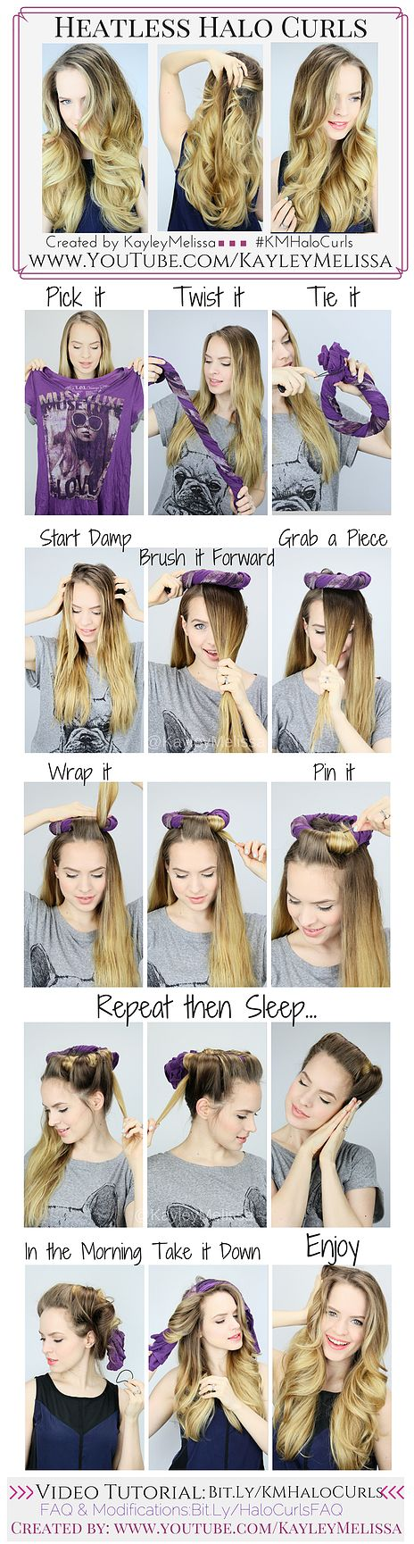 I tried this the other night and it really works! It's a little difficult to wrap your hair, but it's totally worth it. -Allison