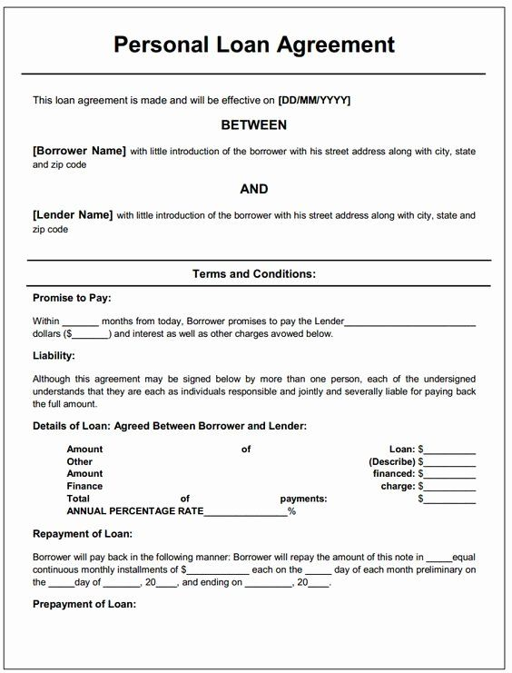 Personal Loan Form Template Unique Personal Loan Agreement In 2020