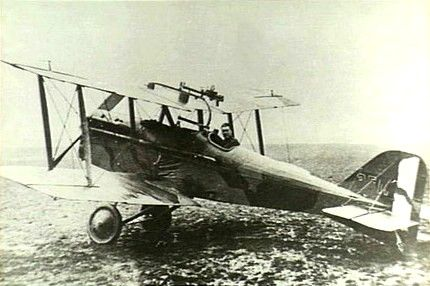 Dallas in his S.E.5, No. 40 Squadron RAF, 1918.