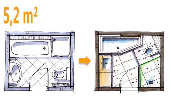 Badplanung Beispiel 5 2 Qm Modernes Komplettbad Mit Pfiffiger Raumaufteilung Bad Grundriss Badplanung Badezimmer 5 Qm Planen