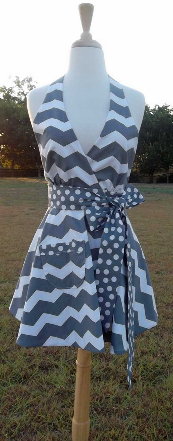 Womens Glamour Chef Gray and White Chevron Full Halter Apron Sexy Retro Look on Etsy, $34.50