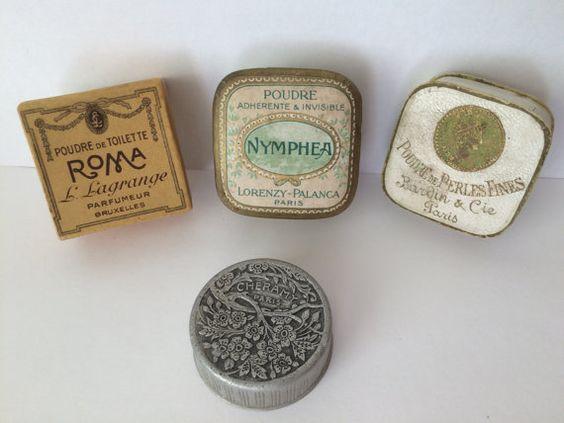 4 Antique French Miniature Face Powder Boxes,''Poudre de Perles Fines''…