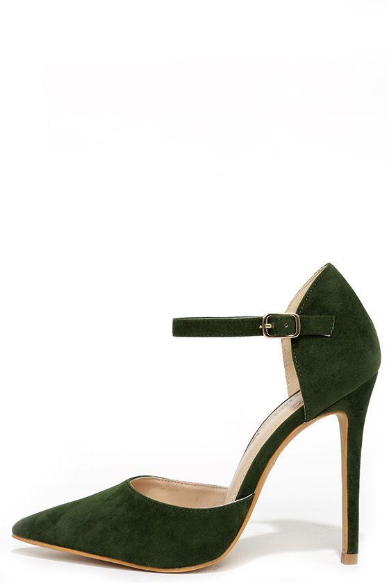 Got it Bad Olive Green Suede Ankle Strap Heels | Strap heels ...