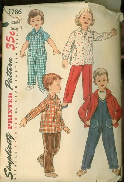 1950s UNISEX Toddlers Playtime Overalls and Shirt by sandritocat