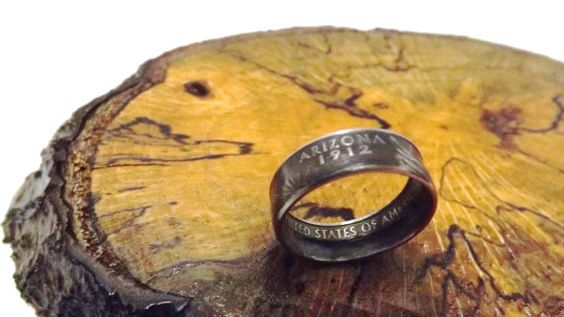 Arizona State quarter Ring size 6-14 coin rings by ReLightDesigns
