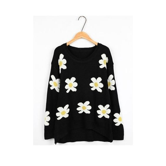 Fancy Flower Print High Low Sweater (39.075 BRL) ❤ liked on Polyvore featuring tops, sweaters, fancy sweaters, floral print sweater, floral print tops, floral tops and dressy tops