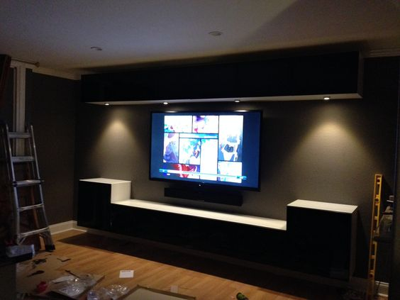 Wall mounted ikea bestas and under cabinet lights with for Floating entertainment center ikea