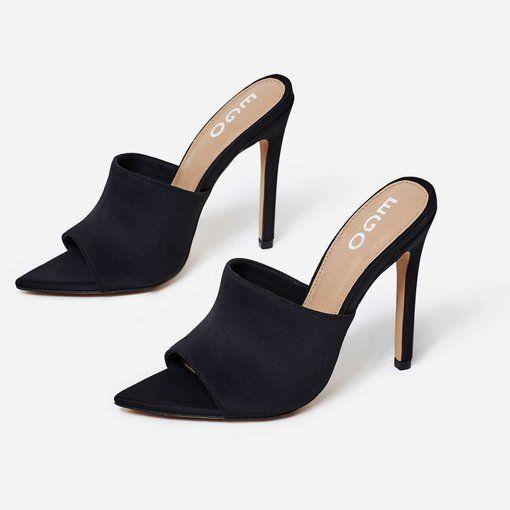 Briana Pointed Peep Toe Mule In Black
