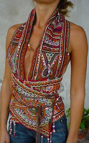 Unique boho chic gypsy embellished ethnic tribal scarf for Define bohemian style