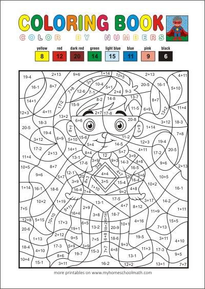 Math Addition And Subtraction Up To 20 Color By Number Math Coloring Math Coloring Worksheets Color Worksheets