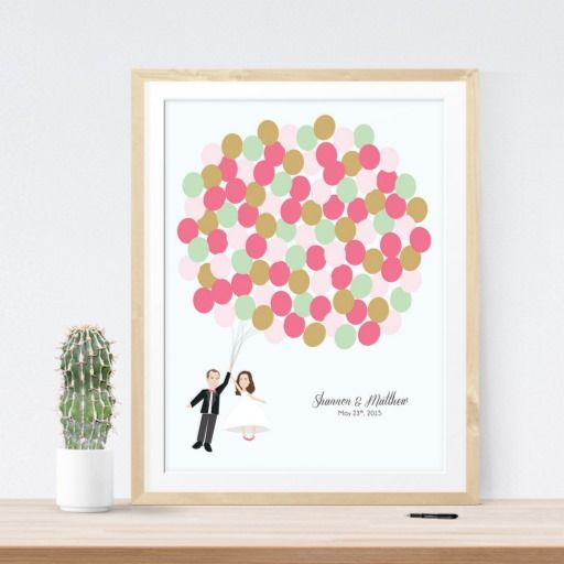 Wedding Guestbook Alternative Pink UP Bride Groom Sailing Away Travel Balloon Guest Sign At Reception Print  #reception #wedding #guestbook