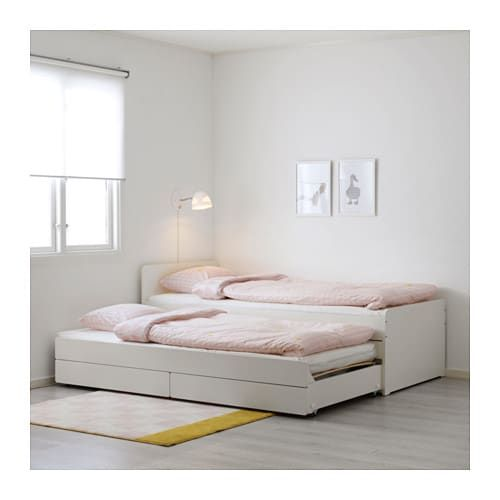 Slakt Bed Frame With Underbed And Storage White Ikea Ikea Bedroom Design Ikea Bed Pull Out Bed