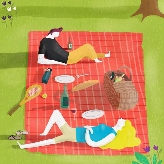 Doesn't this make you feel just a bit more relaxed? Artist Mark Conlan (@markconlan) has a great figurative style and a wonderful sense of space. #awesomeartist #perfectpicnic