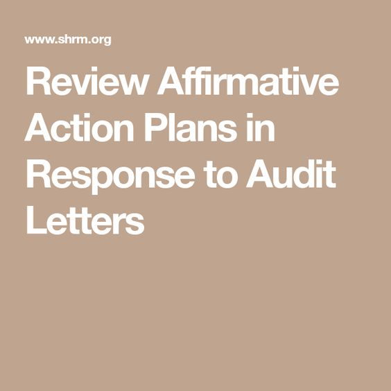 Review Affirmative Action Plans in Response to Audit Letters