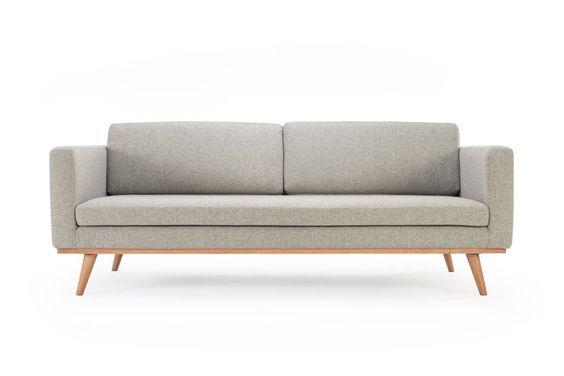Johan, 3-seater sofa, Andie Stone, oak legs