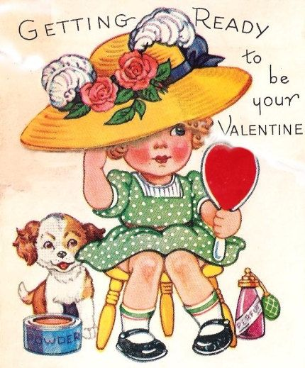 Vintage Valentine Card Little Girl Perfume Hat by PaperPrizes