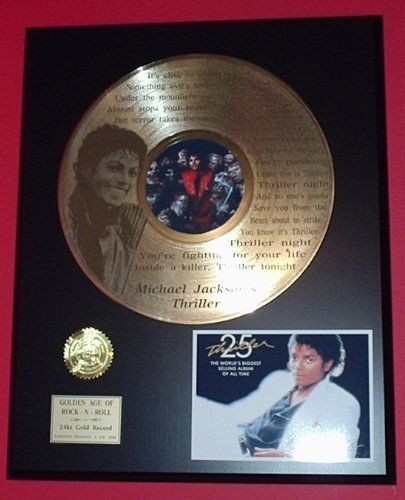 """Michael Jackson """"Thriller"""" 24kt LP Gold Record LTD Edition Display ***FREE PRIORITY SHIPPING*** $129.95 (save $120.00)"""