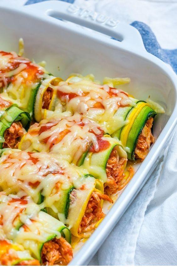 Zucchini Chicken Enchilada Roll-Ups