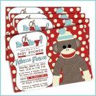 Sock Monkey Baby shower invitations for baby boy baby shower - Oh baby