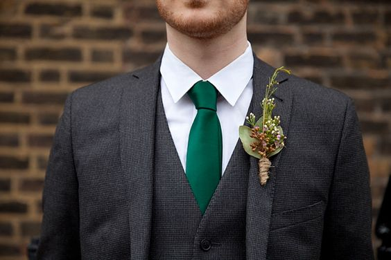 Simple boutonniere with twine. Photography by www.bradclarkephotography.com