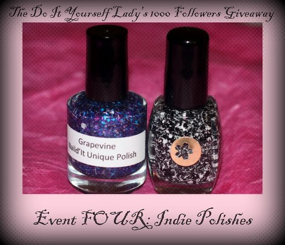 The Do It Yourself Lady: 1000 Followers Giveaway: Event 4 - Indie Polishes http://doityourselflady.blogspot.com/2012/07/1000-followers-giveaway-event-4-indie.html