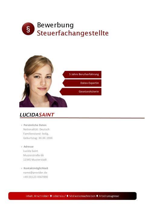 Deckblatt Steuerfachangestellte Bewerbung Design Bewerbung Bewerbungsdesign